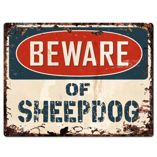 PP1461 Beware of SHEEPDOG Plate Chic Sign Home Store Wall Decor Funny Gift