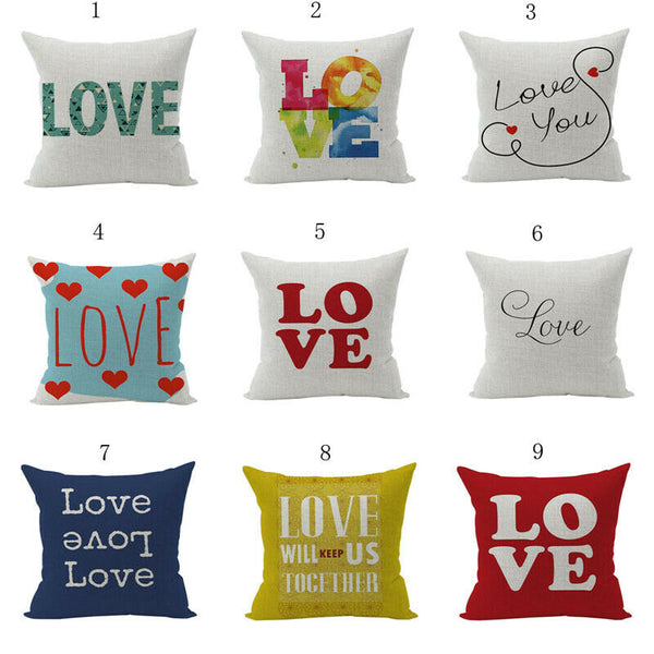 """Simple LOVE Painting Cotton Linen Pillow Case Sofa Car Cushion Cover ""new"