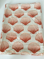 "PAIR OF LINEN DECORATIVE PILLOW CASES 18"" X 13.5"" SHELL PATTERN"