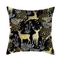 Christmas Tree Golden Cushion Cover Vintage Deer Pillow Cases Cotton Linen Moose
