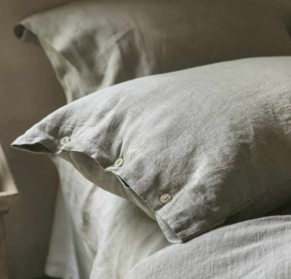 100% Linen Pillowcase with coconut buttons Luxury Linen Bedding Natural queen