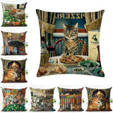 "18""x18"" Cat Pattern Linen Square Home Decorative Pillow Case Cushion Cover Waist"