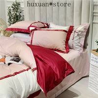 Princess Style Egyptian Cotton Bed Linen Soft Satin Bedding Red Bow Pillowcases