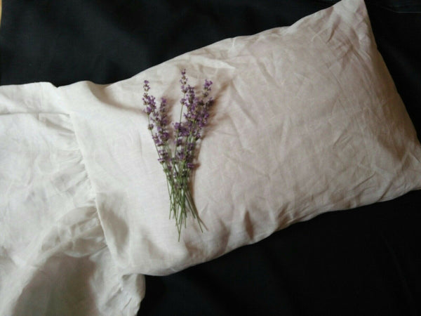 100% Pure Linen One-Side Ruffled Pillowcase with Long Ruffle Hypoallergenic
