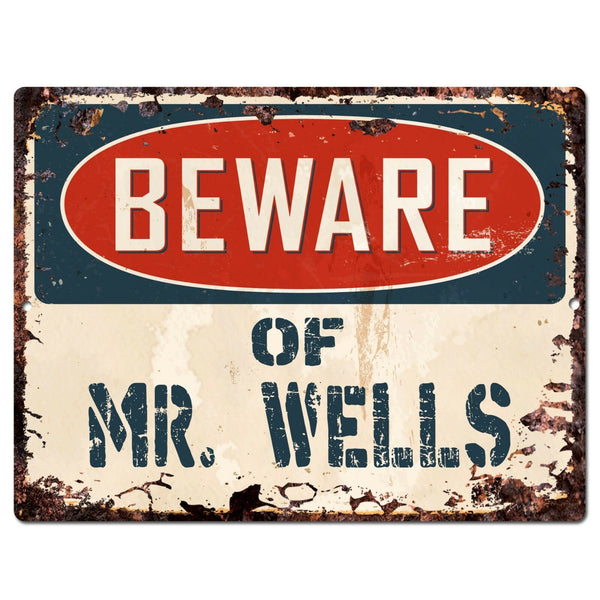 PP2245 Beware of MR. WELLS Plate Chic Sign Home Store Wall Decor Funny Gift