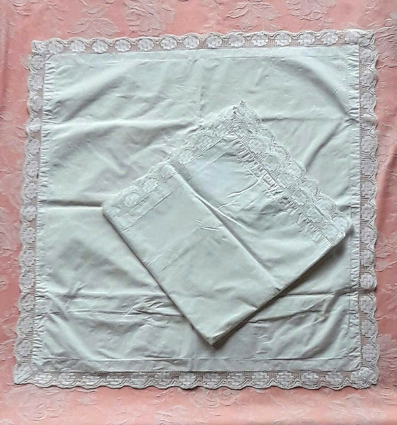 PAIR Vintage French Pillowcases EURO Shams Handmade Lace Trim White Linen Blend
