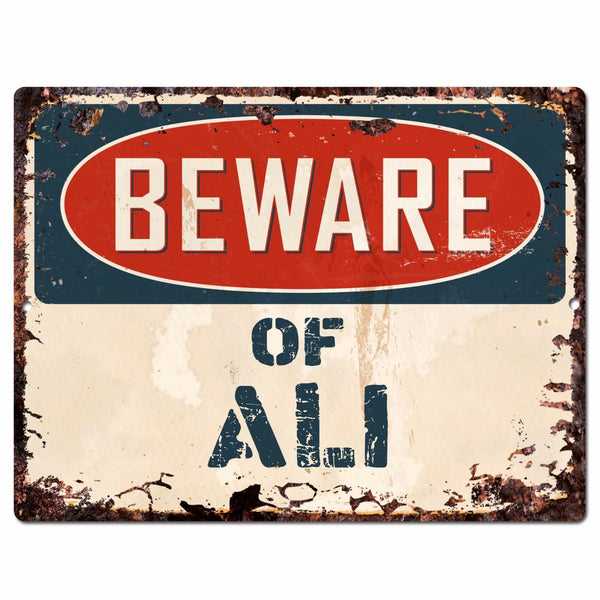 PBFN 0614 Beware of ALI Plate Rustic Chic Sign man cave Decor Funny Gift