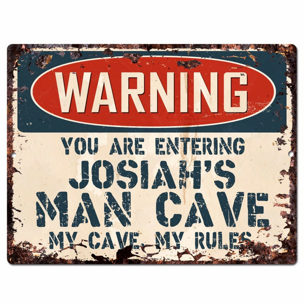 PP4128 WARNING JOSIAH'S MAN CAVE Chic Sign Home man cave Decor Funny Gift