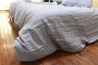 Shabby Pre washed 100% Linen Bedding Duvet Cover Set Pillowcases Grey Queen King