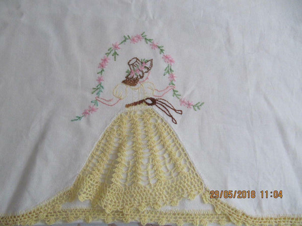 1 ivory linen king pillowcase handwork crochet edge embroidered Southern Belle