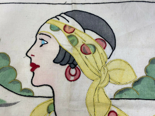 Vintage Lady Fashionista Square Embroidered Linen Pillow Case