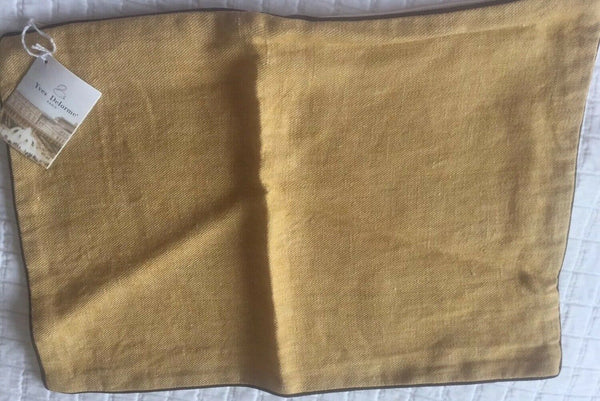 Yves Delorme CRAVATE GOLD LINEN SMALL CUSHION COVER PILLOWCASE