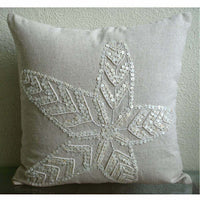 "Starfish 16""x16"" Cotton Linen Ecru Pillow Cases - Starfish Pearls"