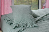 Linen SHEET SET of 4pc Stone Washed sheets and two pillowcases RUFFLE green