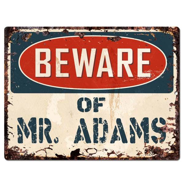PP1442 Beware of MR. ADAMS Plate Chic Sign Home Store Wall Decor Funny Gift