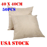 Linen Sublimation Blank Pillow Case Cushion Cover Square Throw Pillow Case 50PCS