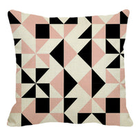 Nordic Pink Black White Rhombus Geometry Linen Pillow Case Sofa Cushion Cover