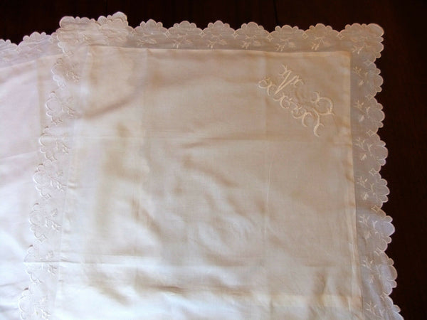 Superb pair of Pillowcases wire linen embroidered & bearing