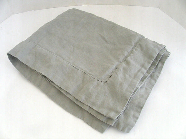 100% Linen King Pillowcase ONE Gray Fieldcrest Flange w Drawnthread Work