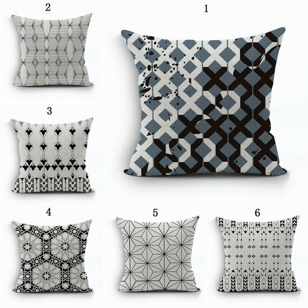 Modern Geometry Cotton Linen Black and White Strip Throw Pillowcases Home New