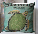 Linen Flax Bed Room Gift PILLOW CASES CUSHION COVERS 45 cm Green Sea turtle