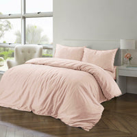Duvet Cover Set Cotton Linen Blend Single Double Super King Size Bedding Blush