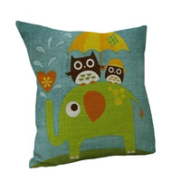 Cartoon Owl Theme Cotton Linen Pillow Case Throw Cushion Cover Sofa Decor New