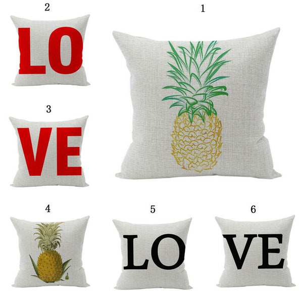 Pineapple&LOVE Decor Cotton Linen Pillow Case Sofa Waist Throw Cushion Cover New