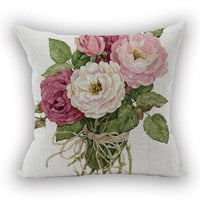 Romantic Flower Throw Pillow Covers Cases Cotton Linen Square Decorative New