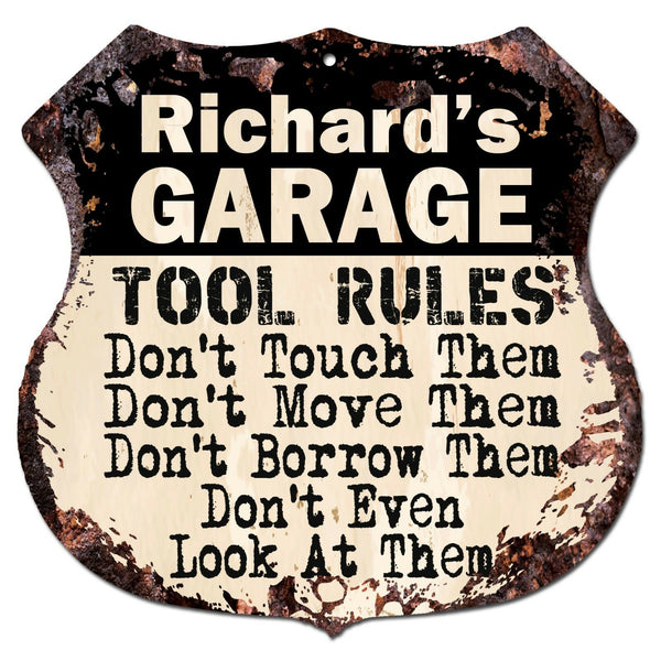 BPG0007 RICHARD'S GARAGE TOOL RULES Rustic Shield Sign Man Cave Decor Funny Gift