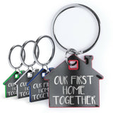 'Our First Home Together' Metal House Shaped Keyring New Home Housewarming Gift