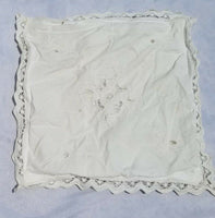 13 Inch Vintage Linen Embroidery Rustic Primitive Pillow Cover Case Victorian
