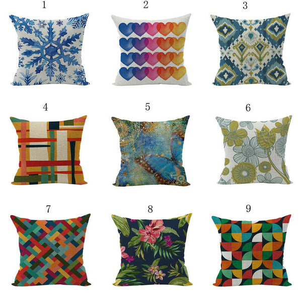 """Watercolor Series Cotton Linen Throw Pillow Case Sofa Cushion Cover New"