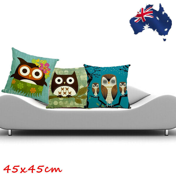 45x45 Linen Cotton Throw Pillow Case Sofa Cushion Cover Green Blue Owl HPICA456