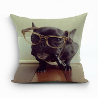 Cotton Linen Watercolor Animal Decorative Square Throw Linen Pillow Covers New