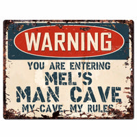 PP4154 WARNING MEL'S MAN CAVE Chic Sign Home man cave Decor Funny Gift