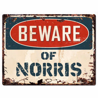 PBFN 0643 Beware of NORRIS Plate Rustic Chic Sign man cave Decor Funny Gift