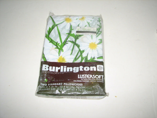 VTG Burlington Lustersoft Two Standard Pillowcases Linen White Daisy NOS New MIP