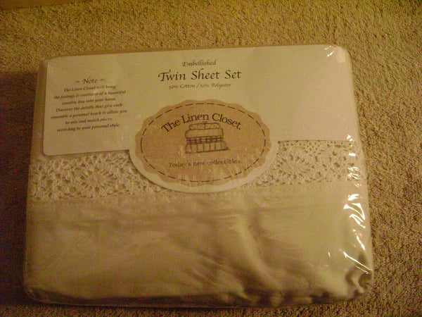 The Linen Closet Embelished Twin Sheet Set Almond & White Color New in package