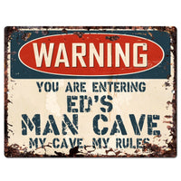 PP3487 WARNING ENTERING ED'S MAN CAVE Chic Sign Home Decor Funny Gift