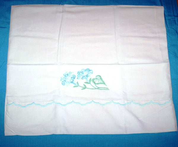 "1 - 18"" x 36"" Off White Linen Embroidered Standard Pillowcase (Blue Flowers)"