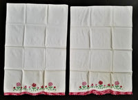 LOT vintage 2pc linen cotton PILLOW CASES EMBROIDERY PATTERN floral lace red whi