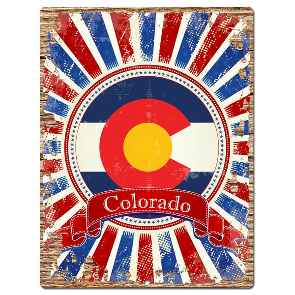 PP0985 USA Colorado State Flag Chic Sign Home Shop Store Room Wall Decor Gift