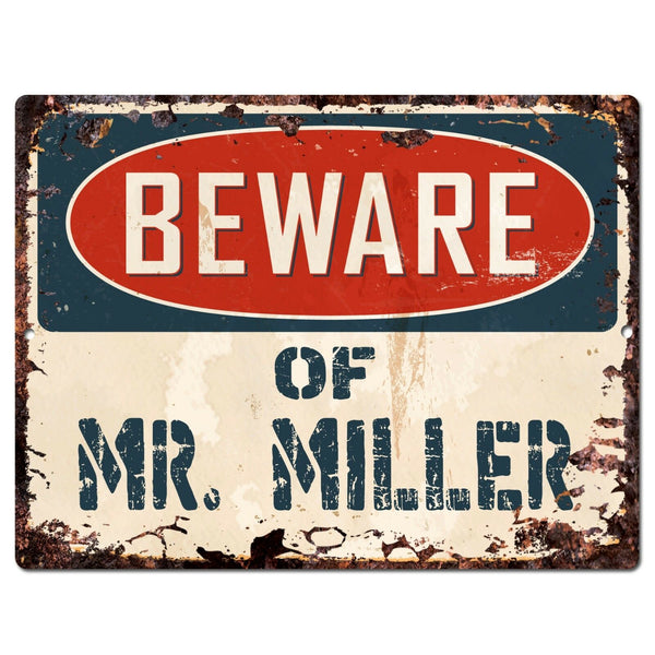 PP1428 Beware of MR. MILLER Plate Chic Sign Home Store Wall Decor Funny Gift