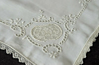 Vintage Linen and Lace Embroidered BOUDOIR PILLOWCASE VV133