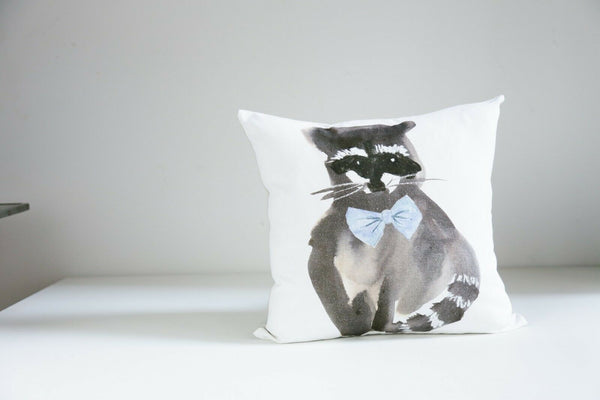 Painted Racoon Accent Pillow case Set of 2 Square Linen Blend Pillow cases