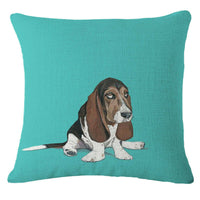 Cartoon Cute Dog Cotton Linen Square Decorative Throw Pillow Case Cushion Gift