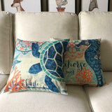 "Pillow Cover Set of 4 18"" x 18"" Coastal Beach Cotton Linen Shabby Chic Farmhouse"