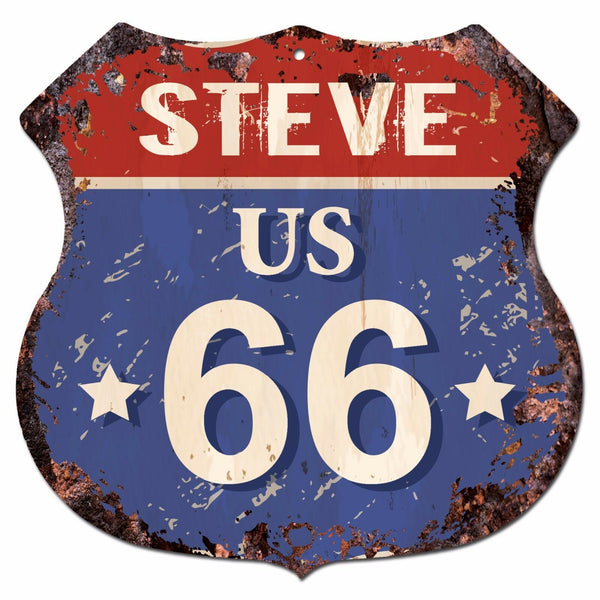 BPRF0074 STEVE US 66 Shield Rustic Chic Sign MAN CAVE Funny Decor Gift