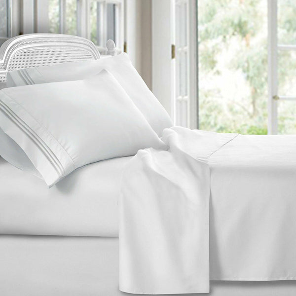 Luxury 1800 Series Clara Clark Bamboo Linen Bed Flat Fitted 4PC Sheet Set